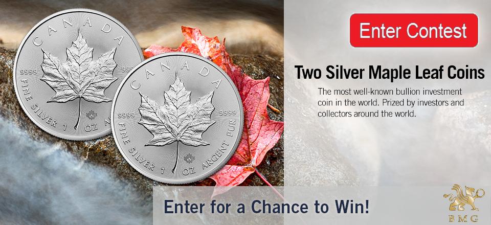 April 2016 Contest | Enter for a Chance to Win | Two Silver Maple Leaf Coins